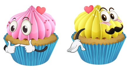 minature: illustration of cupcakes on a white background