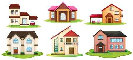 illustration of various houses on a white background Stock Vector - 16105445