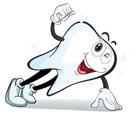 diente caricatura: Ilustraci�n de un diente en un fondo blanco