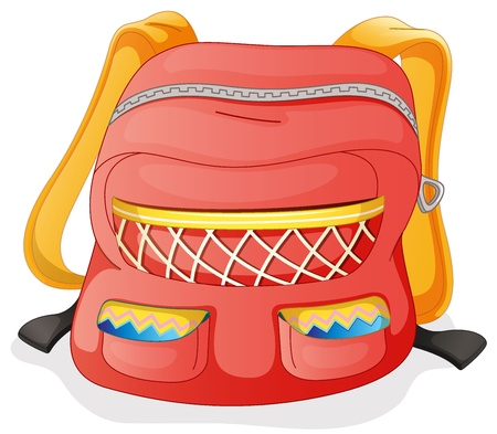 illustration of a red school bag on a white background Vector