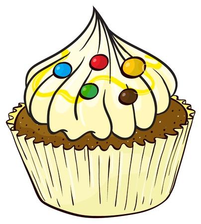 minature: Illustrazione di un isolato, un cupcake su uno sfondo bianco