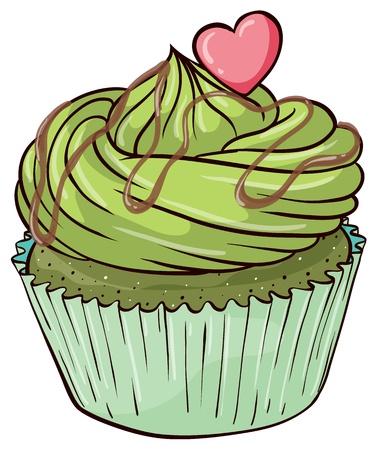 미니: 격리 된 컵 케이크의 그림