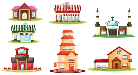 shop window: illustration of various houses on a white background