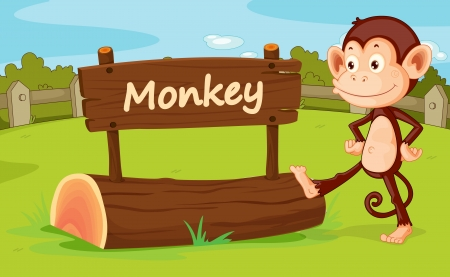 Illustration of monkey in a zoo