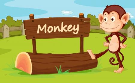 animales del zoo: Ilustración del mono en un zoo Vectores