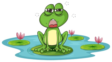 miserable: illustration of a frog and a water on a white background