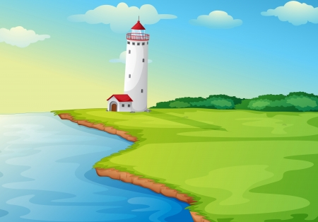 illustration of a light house in a beautiful nature Stock Vector - 16105450