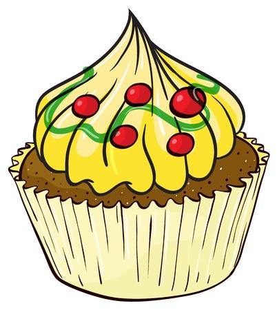 미니: 흰색 배경에 격리 된 컵 케이크의 그림