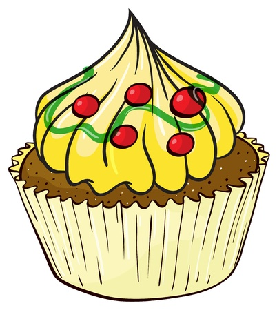 yum: Illustration of an isolated a cupcake on a white background Illustration