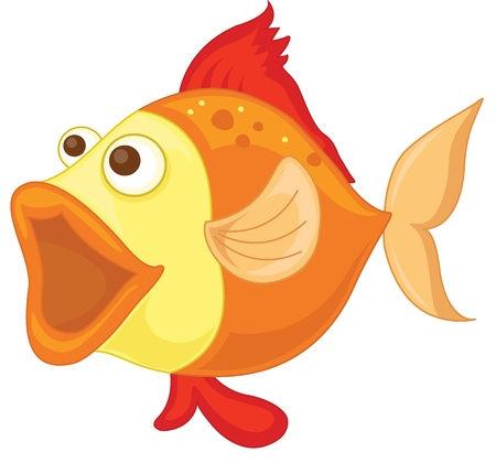 illustration of an orange fish on a white background Vector
