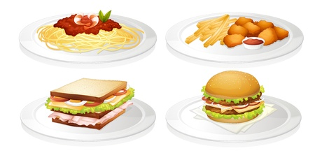 sandwich white background: illustration of a food on a white background Illustration