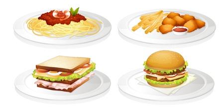 plato pasta: Ilustraci�n de un alimento en un fondo blanco Vectores