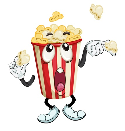 funny movies: illustration of a popcorn on a white background