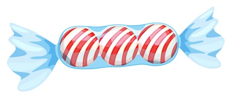 wrapper: illustration of a red candy on a white background