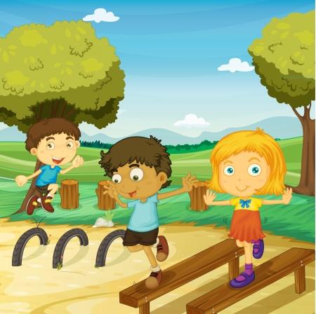 ni�as jugando: ilustraci�n de ni�os jugando en una hermosa naturaleza Vectores