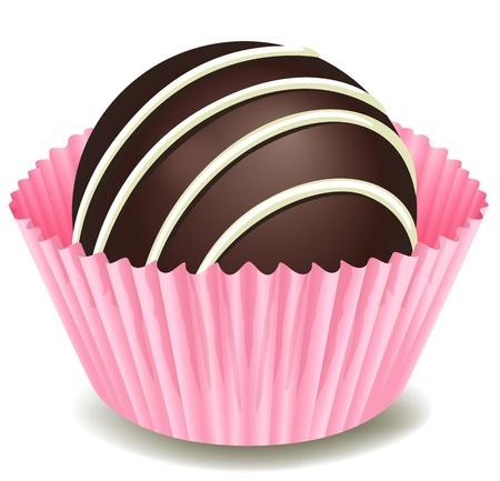 snoepjes: illustratie van chocolade in een roze kop op een witte achtergrond