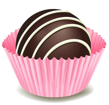 illustration of chocolates in a pink cup on a white background Illustration