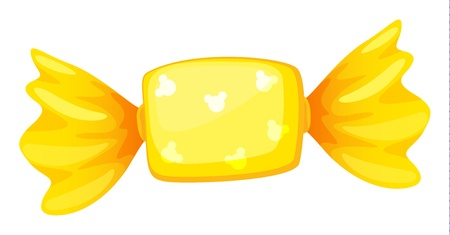 illustration of a yellow candy on white