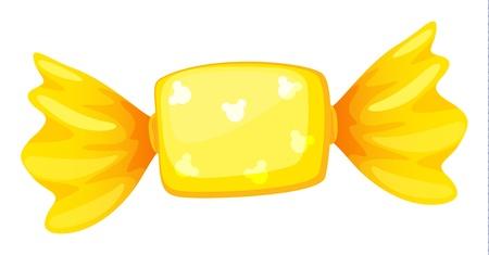 minature: illustrazione di una caramella giallo su bianco Vettoriali