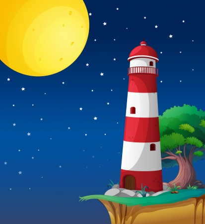 night scenery: illustration of a light house in a dark night Illustration