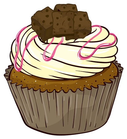 vanilla cupcake: Illustration of an isolated a cupcake on a white background Illustration