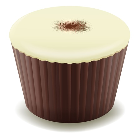 minature: illustration of chocolates in brown cup on a white background