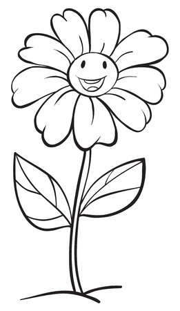 single flowers: illustration of a flower sketch on white background Illustration