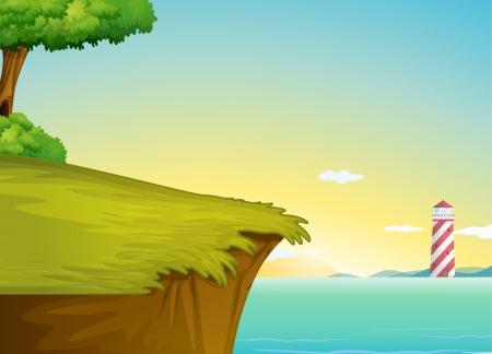 bovenaanzicht plant: illustratie van een licht huis in een prachtige natuur Stock Illustratie