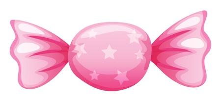 Ilustración de un caramelo de color rosa sobre fondo blanco