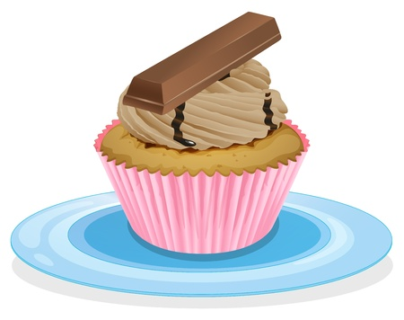 cake topping: illustration of a cupcake on a white background