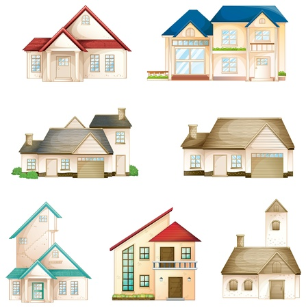 house illustration: illustration of various houses on a white background