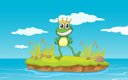 illustration of a frog and a water in nature Vector
