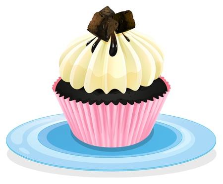 Illustratie van een geïsoleerde cupcake op een witte Stockfoto - 16105535