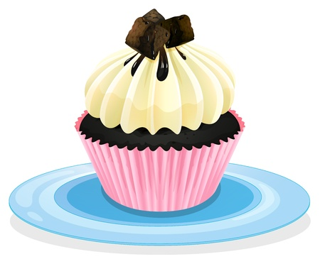 vanilla cake: Illustration of an isolated cupcake on a white