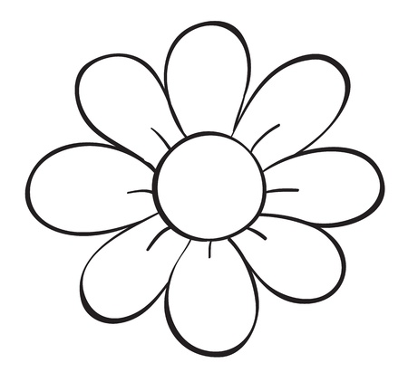 outline drawing: illustration of a flower sketch on white background Illustration