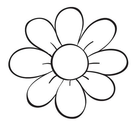 flor caricatura: ilustración de un dibujo de flores sobre fondo blanco
