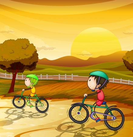 morning sunrise: illustration of kids in a beautiful nature