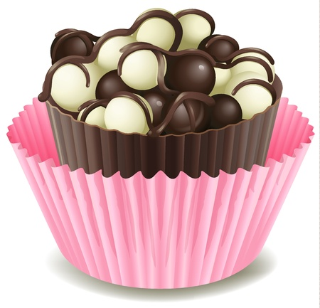 minature: illustration of chocolates in a pink cup on a white background Illustration