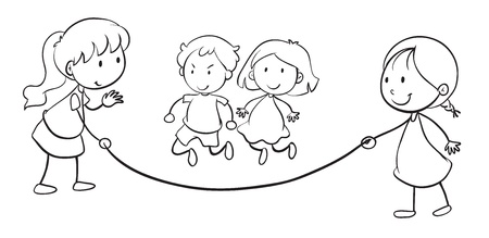 skipping rope: illustration of kids skip rope on a white background