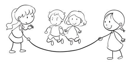 ilustración de cabritos cuerda de salto sobre un fondo blanco