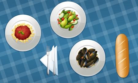 cozza: illustrazione di cibo su sfondo blu