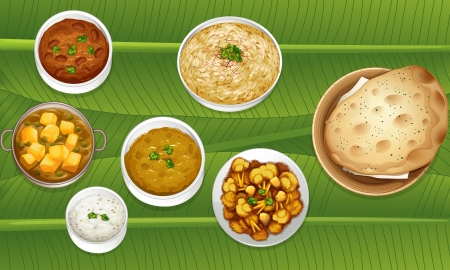indian food: illustration of food on a banana leaf