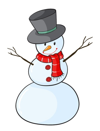 snow cap: detailed illustration of a snowman on a white background Illustration
