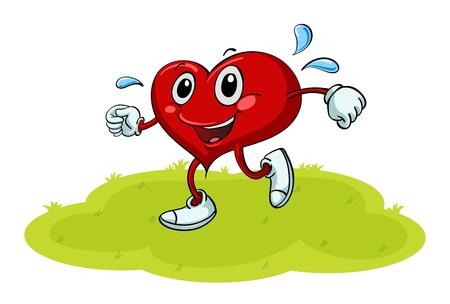 sudando: ilustraci�n de un coraz�n en una hermosa naturaleza Vectores