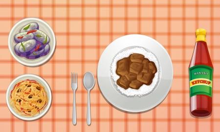 reis gekocht: Darstellung von Lebensmitteln auf einem farbigen Hintergrund Illustration