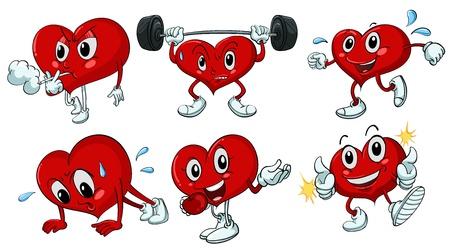 hartje cartoon: illustratie van een hart op een witte achtergrond Stock Illustratie