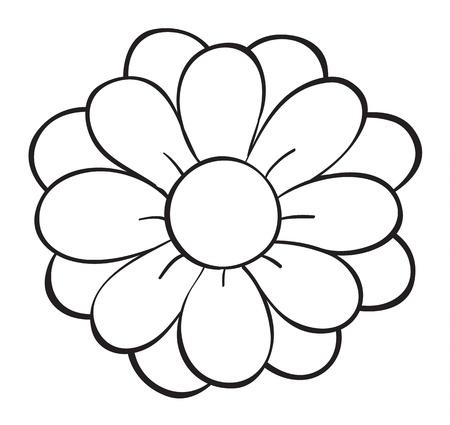 line work: illustration of a flower on a white background Illustration
