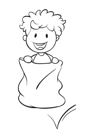 illustration of a boy in a sack on a white background Vector