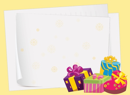 illustration of paper sheets and gift boxes on a yellow background Vector