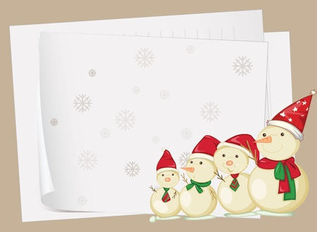 illustration of paper sheets and snowmen on a colored background Vector